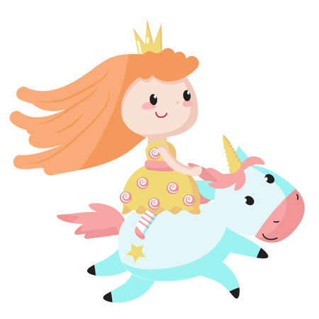 Princess rides a blue unicorn icon isolated on white background. Vector illustration. Cute fairy tale characters