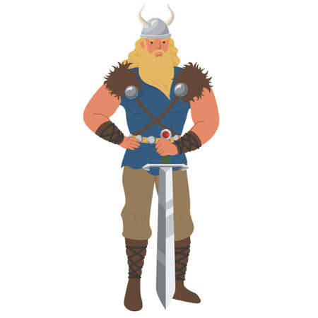Medieval viking man icon isolated on white background. Vector illustration. Scandinavian warrior with sword