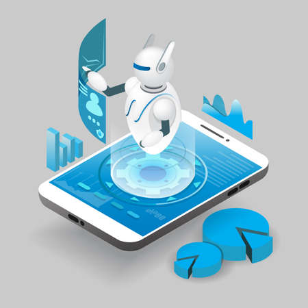 Isometric ai robot on smart phone screen, vector illustration. Artificial intelligence, chatbot mobile phone app.