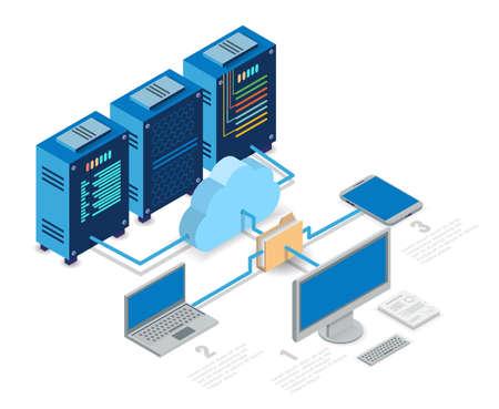 Cloud computing technology flowchart, isometric vector illustration.