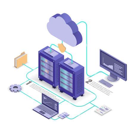 Cloud service technology flowchart, isometric vector illustration.