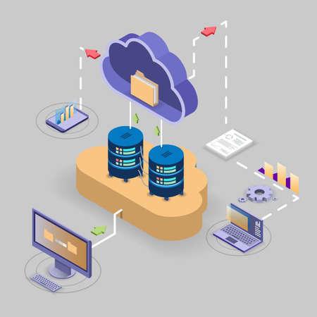 Cloud storage technology flowchart, isometric vector illustration.