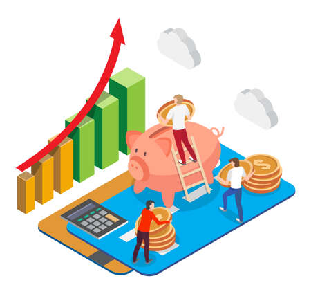 Isometric bank cards with people putting dollar coins into piggy box, flat vector illustration. Financial investments. Ilustracja