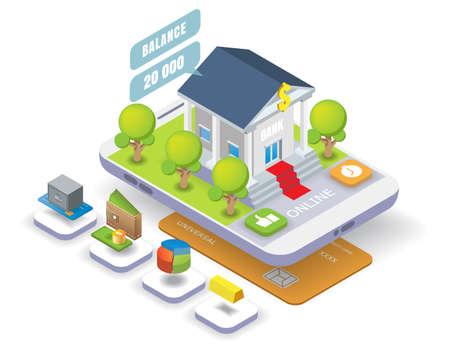 Mobile banking vector isometric illustration. Online bank transactions, money transfer, bank deposit, internet payment.