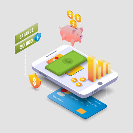 Isometric mobile phone, piggy bank with dollar coins, vector illustration. Mobile banking and online deposit.