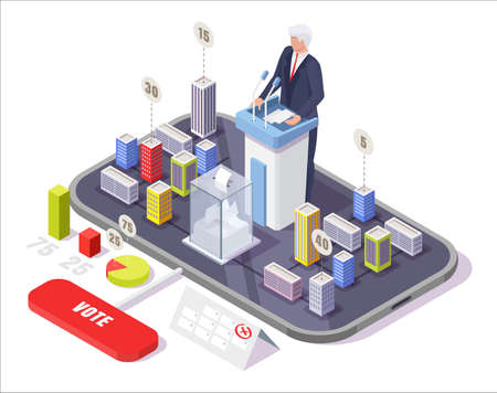Isometric smartphone with political candidate behind rostrum, ballot box on screen, vector illustration. Online voting.