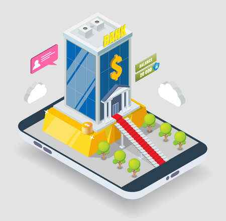 Isometric bank building, gold bar on smartphone screen, vector illustration. Mobile banking. Gold deposit, investments.