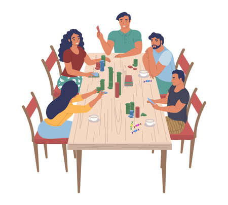 Happy family characters playing board game sitting at table, flat vector illustration. Home leisure activities.