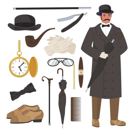 Victorian gentleman set, flat vector isolated illustration. English gentleman clothing and accessories.
