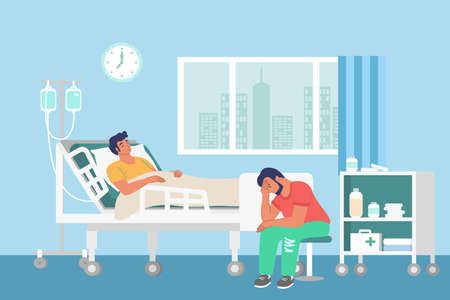 Hospital room, sick patient lying in bed and getting iv therapy, flat vector illustration. Patient health care.