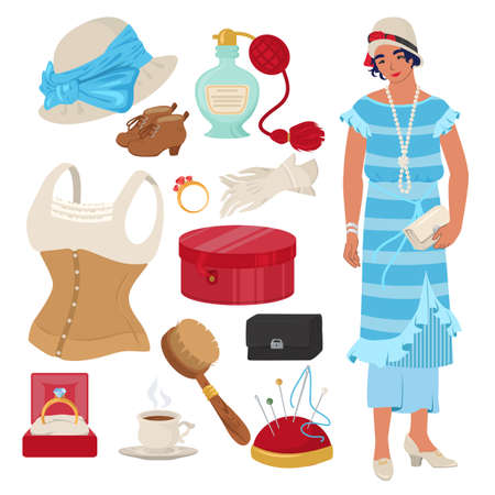 Victorian lady set, flat vector isolated illustration. English lady clothing and accessories.