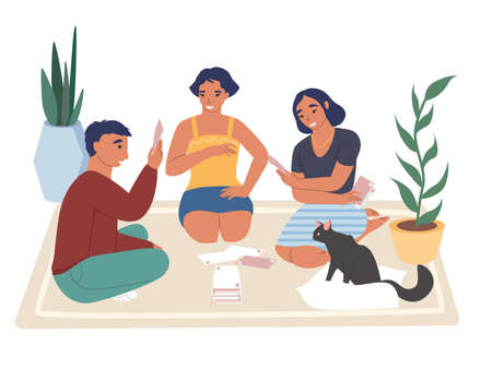 Teens playing board game sitting on the floor with cat, flat vector illustration. Home leisure activities.