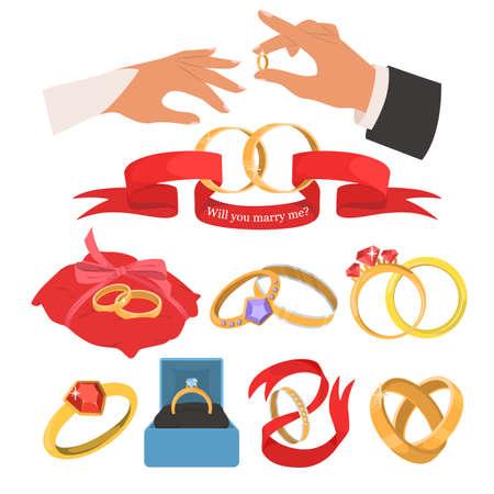 Wedding jewelery set, flat vector isolated illustration.