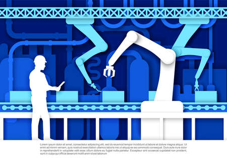 Automatic production conveyor belt, factory worker, engineer. Vector illustration in paper art style.
