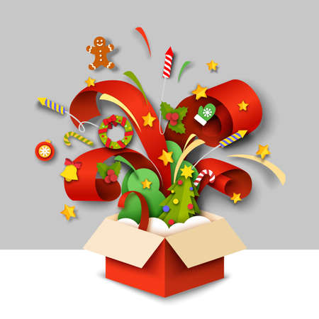 Open magic gift box with Christmas symbols. Vector illustration in paper art style.