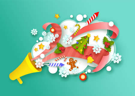 Paper cut Christmas symbols flying out of megaphone. Vector illustration in paper art craft style.