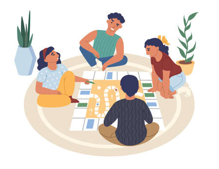 Friends, kids, teens playing board game sitting on the floor, flat vector illustration. Home leisure activities.