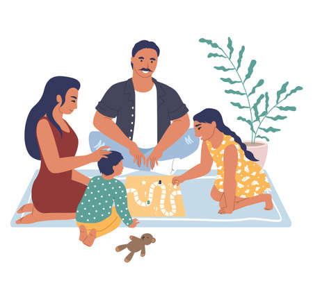 Happy family playing board game sitting on the rug, flat vector illustration. Home leisure activities and entertainment.