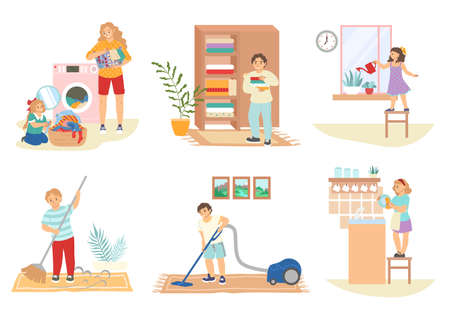 Cute kids doing housework, cleaning house, doing laundry, flat vector isolated illustration. Household chores.
