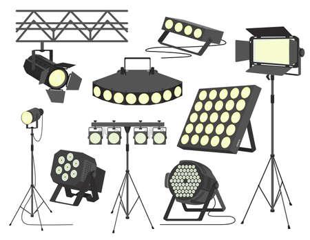 Stage spotlight set, flat vector isolated illustration. Ilustracja