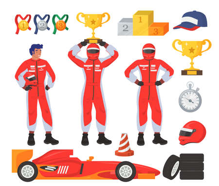 Race driver set, flat vector isolated illustration. Car driver, racer wearing costume. Racing gear and equipment. Ilustracja