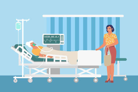 Resuscitation medical ward with drip, ventilator, sad woman and patient in hospital bed, flat vector illustration. Ilustracja