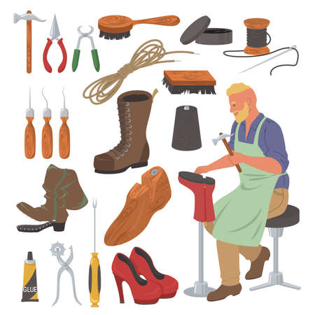 Shoemaker set, flat vector isolated illustration. Shoe repair tools, cobbler supplies and accessories.