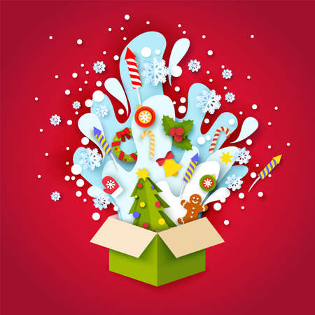 Paper cut craft style open Christmas gift box. Vector illustration in paper art style. Ilustracja