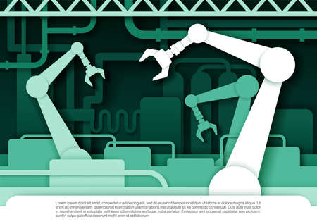 Automatic production conveyor belt with robotic arms. Vector illustration in paper art style. Ilustracja
