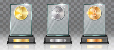 Acrylic glass trophy award mockup set, vector illustration isolated on transparent background.