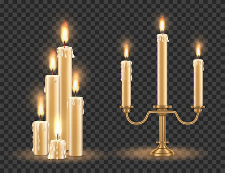 Candlestick and burning candles set, vector illustration isolated on transparent background. Ilustracja