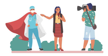 Interview with doctor superhero in red cape and medical mask, flat vector illustration. Live reportage.