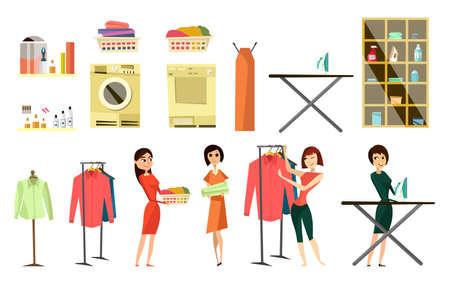 Laundry service set, flat vector isolated illustration. Female characters doing laundry, ironing clothes.