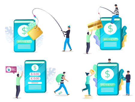 Mobile phishing attack set, flat vector isolated illustration. Hacker stealing personal information and money. Ilustracja