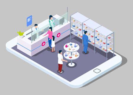 Online pharmacy and drugstore, flat vector illustration.