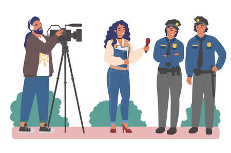 Interview with police officers. Female journalist interviewing policeman and policewoman, flat vector illustration.