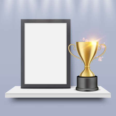Winner blank certificate, diploma frame and gold trophy cup on shelf, vector illustration. Ilustracja
