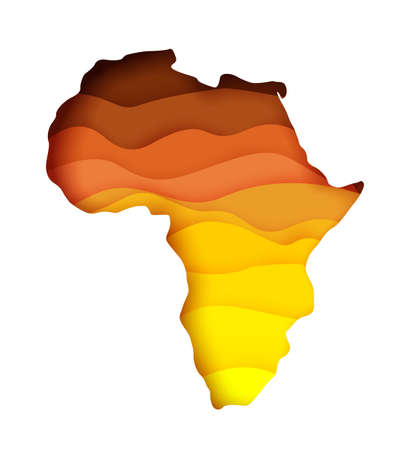 Vector layered paper cut style map of Africa continent. Travel poster, banner. Ilustracja
