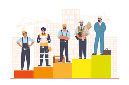 Construction workers standing on raising bar graph, flat vector illustration. Home builder career path. Ilustracja