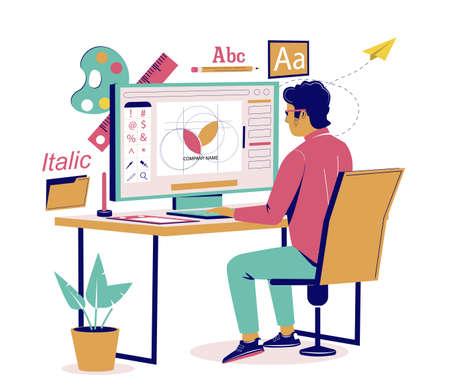 Graphic designer creating logo design, vector flat isometric illustration. Ilustracja