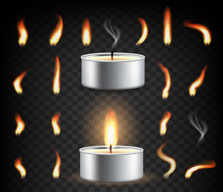 Tea light candle set, vector illustration isolated on transparent background.