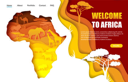 Welcome to Africa vector website landing page template. Paper cut Africa map with african wild animals silhouettes. Ilustracja