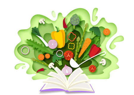 Open recipe book with fresh vegetables. Vector illustration in paper art style. Cooking book.