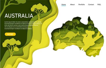 Australia vector website landing page template. Paper cut craft kangaroo silhouette with Australian nature, koala bears.