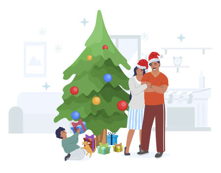 Happy family celebrating Christmas with gifts, flat vector illustration.