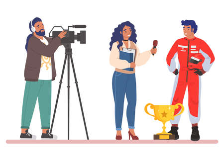 Interview with sport car race champion. Female journalist, cameraman interviewing race driver, flat vector illustration.