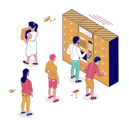 Isometric postal terminal, people standing in line to automated locker, flat vector illustration.