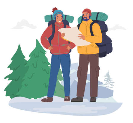 Happy tourist couple with backpacks wearing winter clothing looking at map, flat vector illustration. Winter tourism.