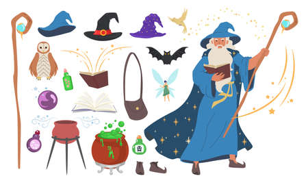 Wizard, magician, warlock, witch tools set, flat vector isolated illustration. Ilustracja