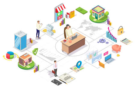 Franchise business isometric flowchart, flat vector illustration. Chain store development, branch network.